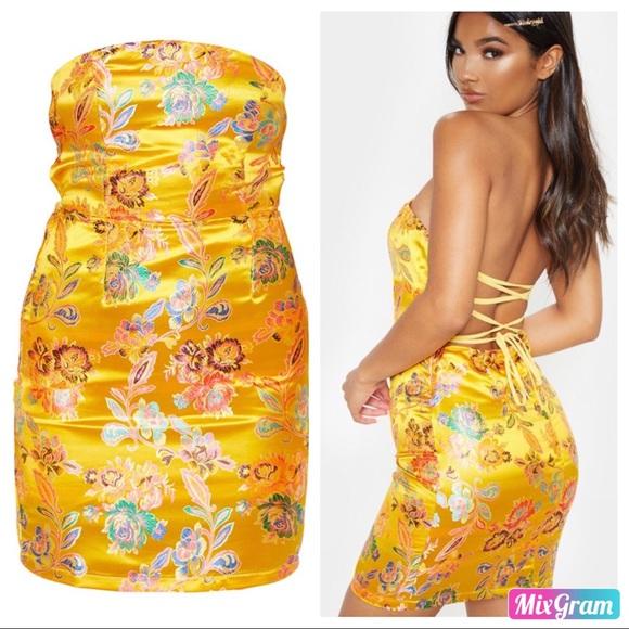 Oriental Satin Bandeau Lace Up Back Bodycon Dress Nwt